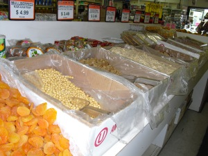 Dried fruits and nuts at Larry's.