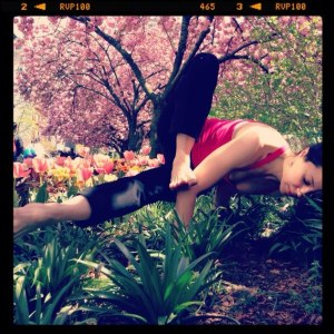 Last spring...arm balancing in NYC. Dragonfly pose, they call this one.